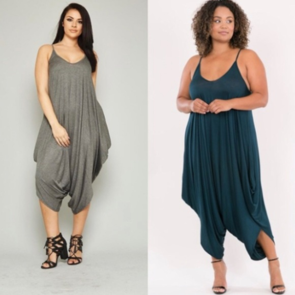 77d61934748 Plus Size 3X Gray Harem Jumpsuit Heather